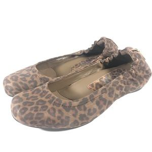 Earthies Tolo Leopard Print Leather Wedge